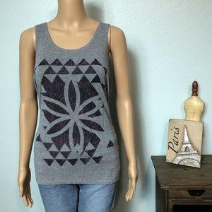 Gaiam Gym Tank Top Shirt Heather Gray Flower Print